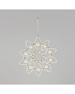 Stern aus Glasperlen, 8 cm, silber mit 10 Spitzen