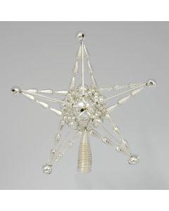 Stern aus Glasperlen, 17 cm, silber mit Spitzenhalter