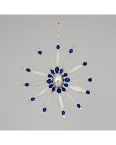 Stern aus Glasperlen, silber-blau