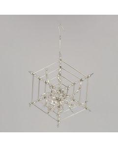 Spinne im Netz aus Glasperlen, 13 cm, silber, handgefertigt