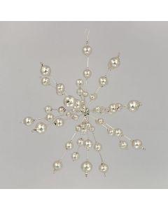 Stern aus Glasplerlen, 19 cm, silber, handgefertigt