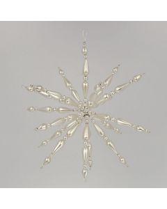Stern aus Glasperlen, 19 cm, silber-weiß, handgefertigt