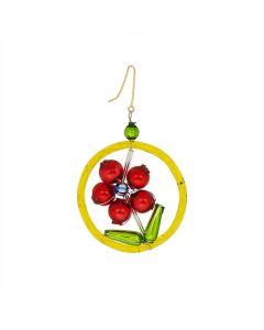 Glasperlen Figur, rote Blume in gelbem Ring, 5 x 5 cm, handgefertigt