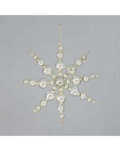 Schneeflocken aus Glasperlen, 10 cm, silber