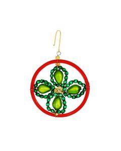 Glasperlen, Kleeblatt im Ring, rot-grün-gold, 5 cm