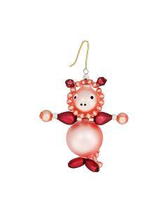 Glasperlen, Schwein, rosa, 6 cm