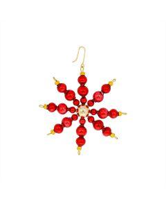 Stern aus Glasperlen, 6 cm, rot-gold