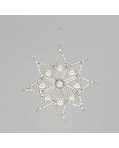 Stern aus Glasperlen, 9 cm, silber mit 8 Spitzen