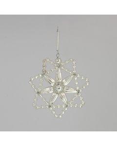 Stern aus Glasperlen, 7 cm, silver