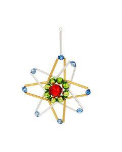 Stern aus Glasperlen, 8 cm, buntes Retro-Design
