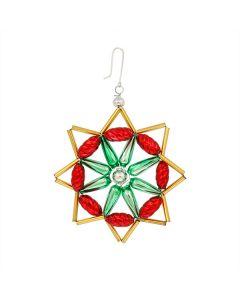 Stern aus Glasperlen, 7,5 cm, rot-grün-gold