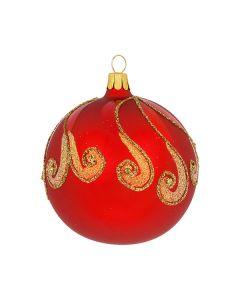 Christbaumkugel aus Glas, 8 cm, rot mit goldenen Ornamenten