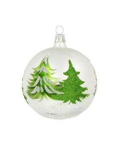 Christbaumkugel aus Glas, 8 cm, weiß mit grünen Bäumen