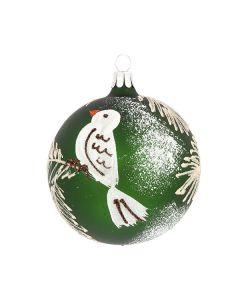 Christbaumkugel aus Glas, 8 cm, grün mit weißem Vogel