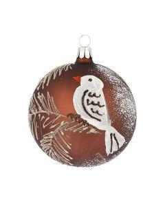 Christbaumkugel aus Glas, 8 cm, braun mit weißem Vogel