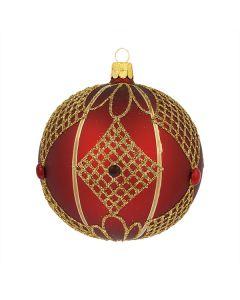Christbaumkugel aus Glas, 10 cm, weinrot mit goldenen Ornamenten