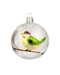 Christbaumkugel aus Glas, 8 cm, weiß mit grün-braunem Vogel