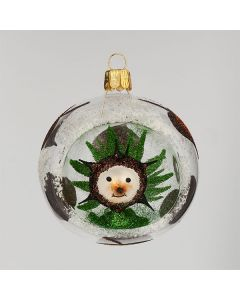 Christbaumkugel aus Glas, 8 cm, transparent mit Igel