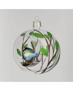Christbaumkugel aus Glas, 8 cm, transparent mit kleiner Meise