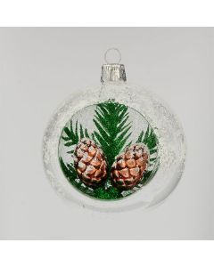 Christbaumkugel aus Glas, 8 cm, transparent mit Zapfen