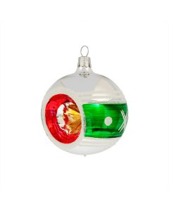 Christbaumkugel aus Glas, 7 cm, im bunten Retro-Design