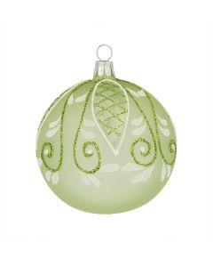 Christbaumkugel aus Glas, 8 cm, grün-weiß