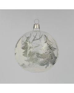 Christbaumkugel aus Glas, 8 cm, weiß-silber