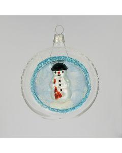 Christbaumkugel aus Glas, 8 cm, mit kleinem Schnnemann