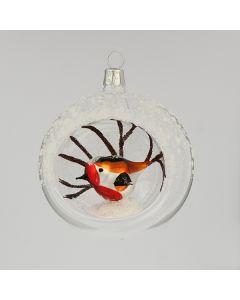 Christbaumkugel aus Glas, 8 cm, mit kleinem Vogel