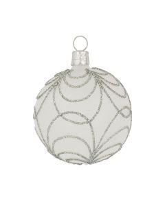 Christbaumkugel aus Glas, 6 cm, transparent mit silber