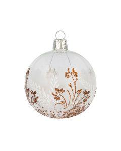 Christbaumkugel aus Glas, 7 cm, transparent mit Blumendekor