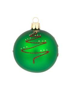 Christbaumkugel aus Glas, 7 cm, grün mit roter Glitzerverzierung