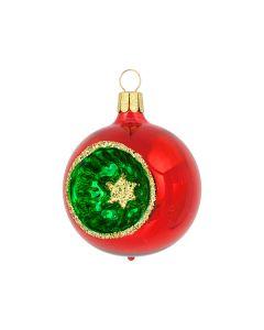 Christbaumkugel aus Glas, 6 cm, rot-grün-gold mit grünem Stich