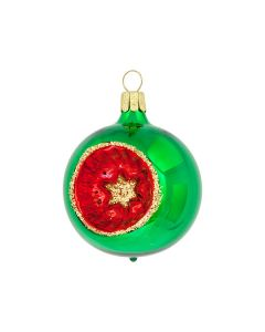 Christbaumkugel aus Glas, 6 cm, grün-rot-gold mit rotem Stich