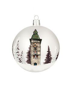 Christbaumkugel aus Glas, 10 cm, bemalt mit Ennser Stadtturm