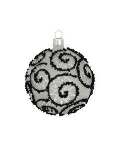 Christbaumkugel aus Glas, 8 cm, transparent mit silber-schwarzem Glitzer