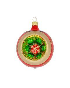 Christbaumkugel aus Glas, 8 cm,  mit großem Reflektor in rot-grün-gold