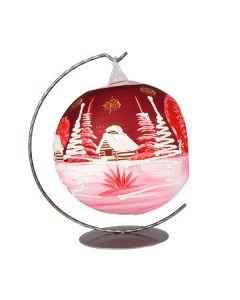 Glaskugel für Teelicht, 15 cm, mattrot-weiss, inkl. Ständer