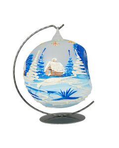 Glaskugel für Teelicht, 15 cm, matttransparent-blau, inkl. Ständer
