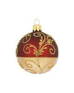 Christbaumkugel aus Glas, 6 cm, weinrot-gold
