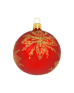Christbaumkugel aus Glas, 8 cm, rot-gold