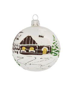 Christbaumkugel aus Glas, 8 cm, silber mit braunem Haus