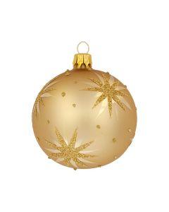 Christbaumkugel aus Glas, 8 cm, silber mit Sternen