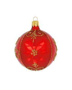 Christbaumkugel aus Glas, 6 cm, rot-gold
