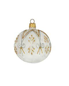 Christbaumkugel aus Glas, 8 cm, transparent-weiß mit Glitzer in gold und silber