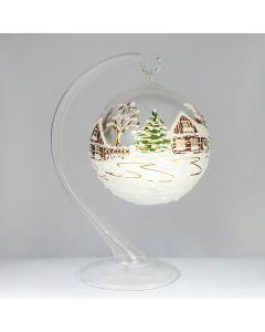 Glaskugel für Teelicht, 10 cm, transparent-weiß, inkl. Ständer