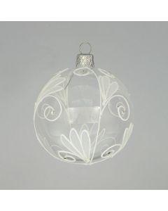 Christbaumkugel aus Glas, 8 cm, transparent mit weißer Bemalung