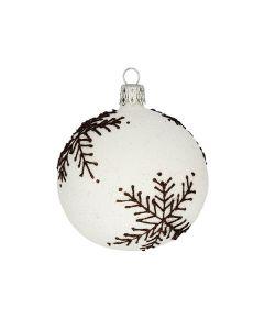 Christbaumkugel aus Glas, 7 cm, weiß mit braunen Schneeflocken
