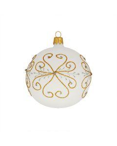 Christbaumkugel aus Glas, 8 cm, weiß mit goldenem Glitzer