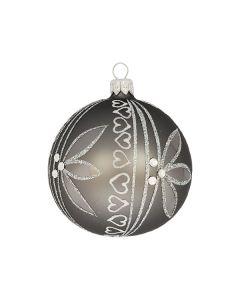 Christbaumkugel aus Glas, 8 cm, grau mit aufwändiger Verzierung